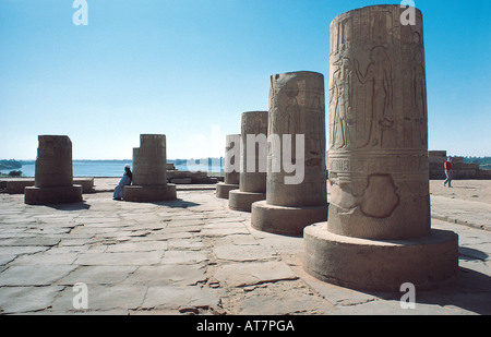 Restored bases of huge pillars at the Temple of Kom Ombo on the river Nile Egypt - Stock Photo