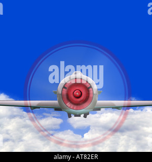 Old single propeller fighter plane flying above the clouds - Stock Photo