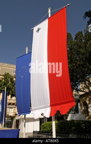 Maltese and European Union flags Valletta Malta - Stock Photo