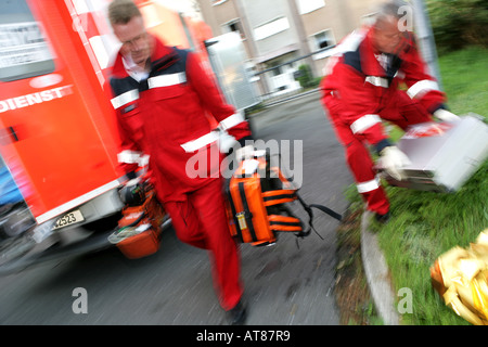 DEU, Germany : Rescue, paramedics, ambulance, fire service. Training situation - Stock Photo