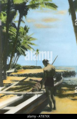 Handtinted image of Hawaiian man near outrigger canoe at Puuhonua honaunau, known also as City of refuge. - Stock Photo
