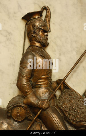 Exeter Cathedral Devon memorial monument to the 9th Queens Royal Lancers of the British Army who served in India - Stock Photo