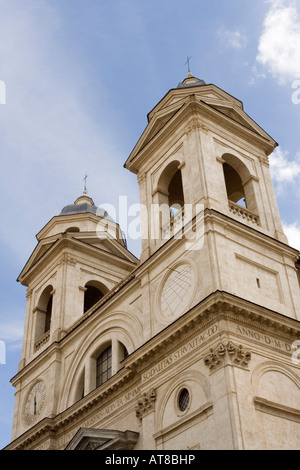 Holy Trinity Church on Pincio Hill (Trinita' dei Monti), Rome, Italy - Stock Photo