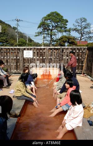 Chi no ike Blood Pond Jigoku meguri Beppu Hells Beppu city Oita prefecture Kyushu Japan - Stock Photo