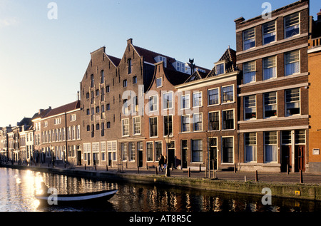 Old Rhine Leiden Holland Netherlands old town city historic - Stock Photo