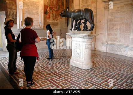 Etruscan bronze statue of the legendary she-wolf suckling twins Romulus and Remus, symbol of Rome, in the Capitoline - Stock Photo