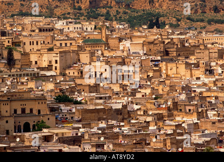 apartment buildings, residential area, overview, medina, Fes el-Bali, city of Fez, Fez, Morocco, North Africa, Africa - Stock Photo