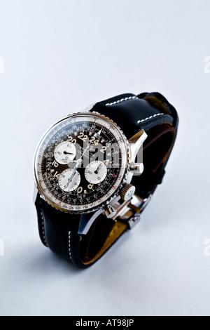 Breitling Geneve Cosmonaute wrist watch shot in a light tent. - Stock Photo