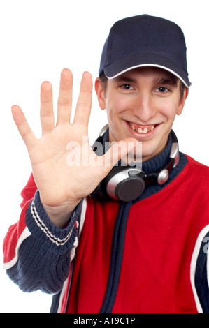 Disc jockey saying stop over a white background Hand in focus - Stock Photo
