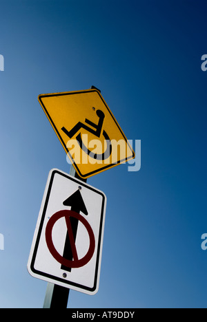 No wheelchair access sign on a nature trail. - Stock Photo