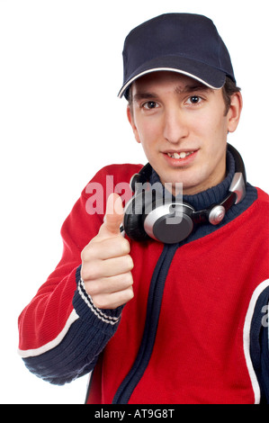 Disc jockey with headphones on white background Focus on the finger - Stock Photo