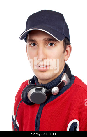 Disc jockey with headphones on white background - Stock Photo