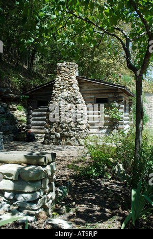 Original Log Cabin, South Main Street, Eureka Springs, Ozark Mountains, Arkansas - Stock Photo