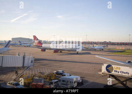 Manchester England UK February Virgin Atlantic Boeing 747 400 taxiing to a parking spot at Terminal 2 - Stock Photo