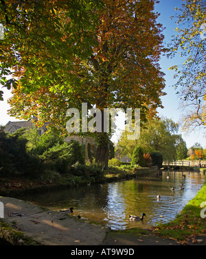 The Village of Lower Slaughter in the Cotswolds, England, UK - Stock Photo