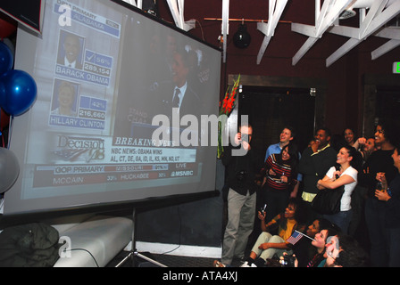 Supporters of Presidential Candidate Sen Barack Obama at Super Tuesday Watch Party Sacramento CA February 5 2008 - Stock Photo