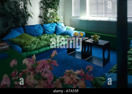 Architect's Own Apartment, Hampstead. Living Room. Architect: Eva Jiricna - Stock Photo