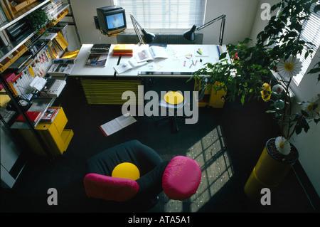 Architect's Own Apartment, Hampstead. Home office. Architect: Eva Jiricna - Stock Photo