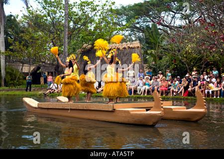 PCC Tahiti yellow boat, Oahu, Hawaii. Polynesian Cultural Center show - Stock Photo