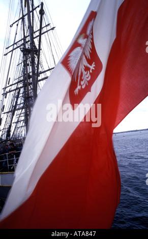 Tall ships race on board the Dar Mlodziezy - Stock Photo