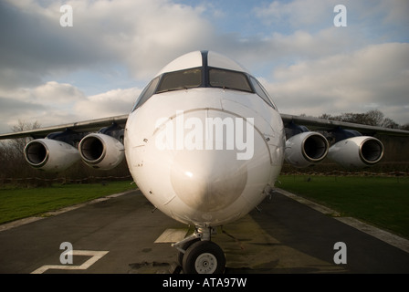 Front view of a BAE146 Avro RJX - Stock Photo