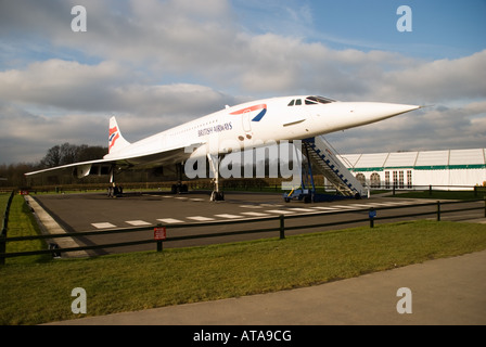 Concorde G-BOAC on display at Manchester Airport viewing area before it was enclosed with a hangar - Stock Photo