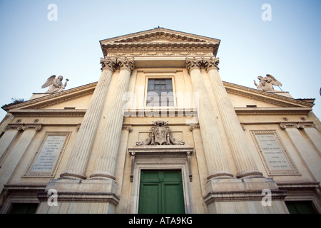 Facade of San Rocco church, Rome - Stock Photo