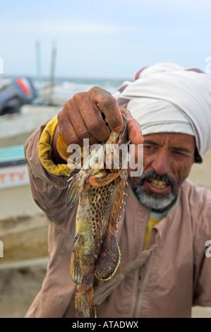 Omani fisherman holding up the days catch at Al Sawadi beach Oman - Stock Photo