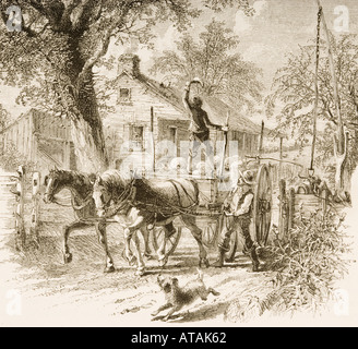 Homestead in Kansas in 1870's.  From American Pictures Drawn With Pen And Pencil by Rev Samuel Manning circa 1880 - Stock Photo
