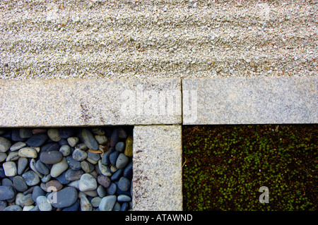 Junction of stone sand and moss in a rock garden at Ryogen In Zen Temple at the Daitoku ji Temple complex Kyoto - Stock Photo