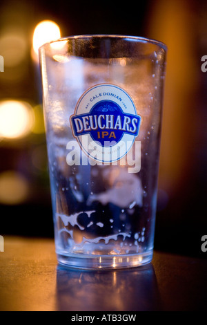 Empty Beer Glass Edinburgh Scotland - Stock Photo