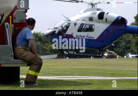 Amagansett NY 8 31 01 A Suffolk County Police MediVac helicopter lands behind the Amagansett Firehouse - Stock Photo
