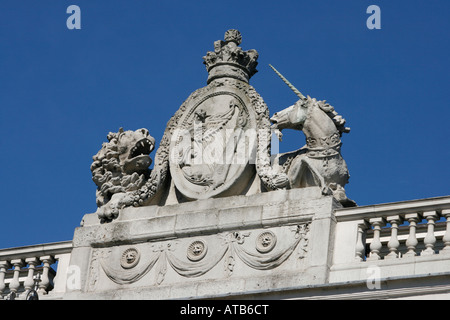 Royal Crest With Lion And Unicorn On Top Of The Gateway