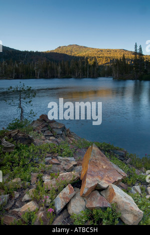 Sunset light on Mount Tallac over Suzie Lake Desolation Wilderness El Dorado National Forest California - Stock Photo