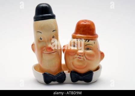Stan Laurel and Oliver Hardy Beswick Salt and Pepper Pots - Stock Photo