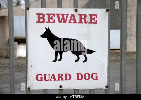 beware guard dog sign County Monaghan farm - Stock Photo
