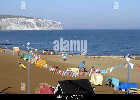 Sandown Beach at dusk Isle-of-Wight Hampshire England United Kingdom - Stock Photo