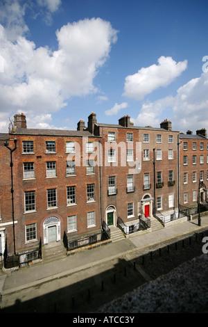 Georgian terraced buildings of Henrietta Street in Dublin, Ireland - Stock Photo