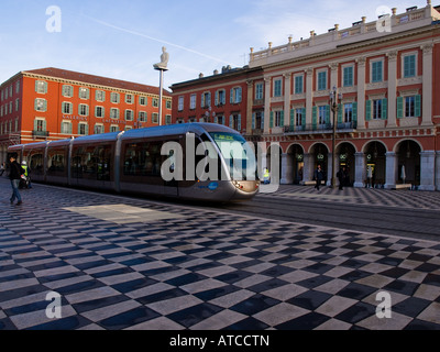 A tram pulls into Place Masséna in Nice, France. - Stock Photo