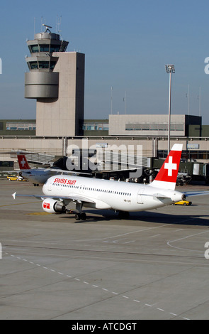 A Swiss Air Lines passenger plane at the airport in Zurich, Switzerland - Stock Photo