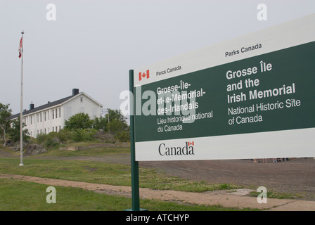 Sign at west sector wharf of Gross Ile and the Irish Memorial National Historic Site of Canada - Stock Photo