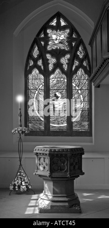 Blue stained glass window in St Edward the Confessor Church Romford Essex Black and white - Stock Photo