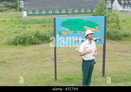 Interpreter/guide at Gross Ile and the Irish Memorial National Historic Site of Canada - Stock Photo