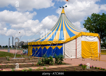 Tent on grounds of TOHU, la Cite des Arts du cirque (the site of circus arts), Montreal, Quebec, Canada - Stock Photo