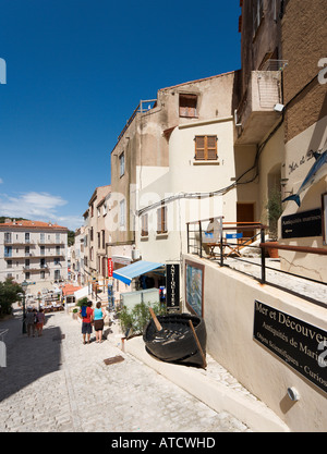 Path up to the Haute Ville (old town) from the harbour, Bonifacio, Corsica, France - Stock Photo