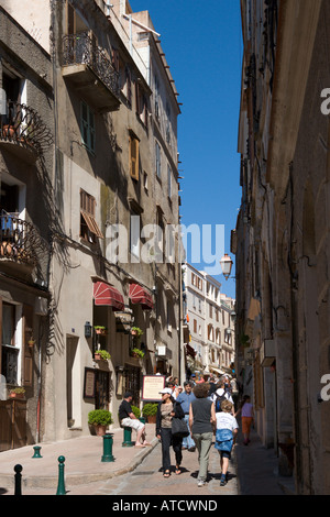 Shops on a street in the Haute Ville (Old Town), Bonifacio, Corsica, France - Stock Photo