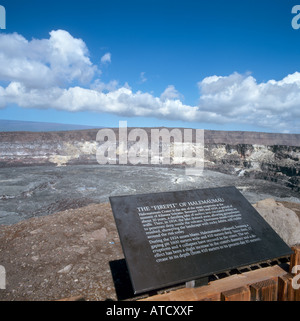 The Firepit, Halemaumau Crater, Volcanoes National Park, Big Island, Hawaii, USA - Stock Photo