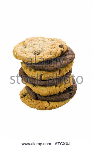 Mixed stack of cookies. Chocolate chip and oatmeal raisin cookies. - Stock Photo