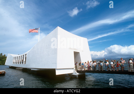 USS Arizona Memorial, Pearl Harbor, Oahu, Hawaii, USA - Stock Photo