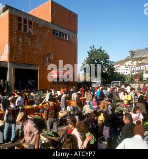 Local market in the town of Camara de Lobos, Madeira Portugal - Stock Photo